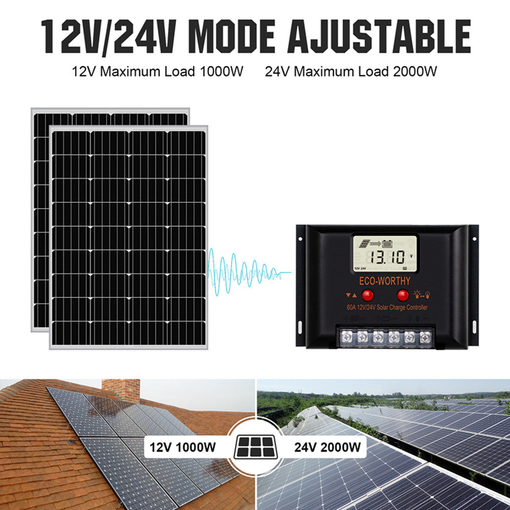 100W Mono Series: 100W 200W 300W 400W 500W 600W Off Grid Solar Kits with MPPT for Home RV Remote
