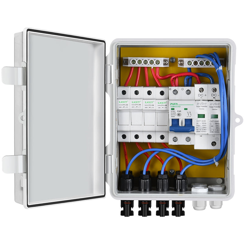 4 String PV Combiner Box with Lightning Arrester & 10A Rated Current Fuse & Circuit Breakers for On/Off Grid Solar System  | ECO-WORTHY