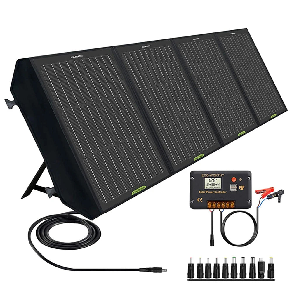120W 12V Foldable Solar Panel Suitcase with 20A Charge Controller for Camping RV | ECO-WORTHY