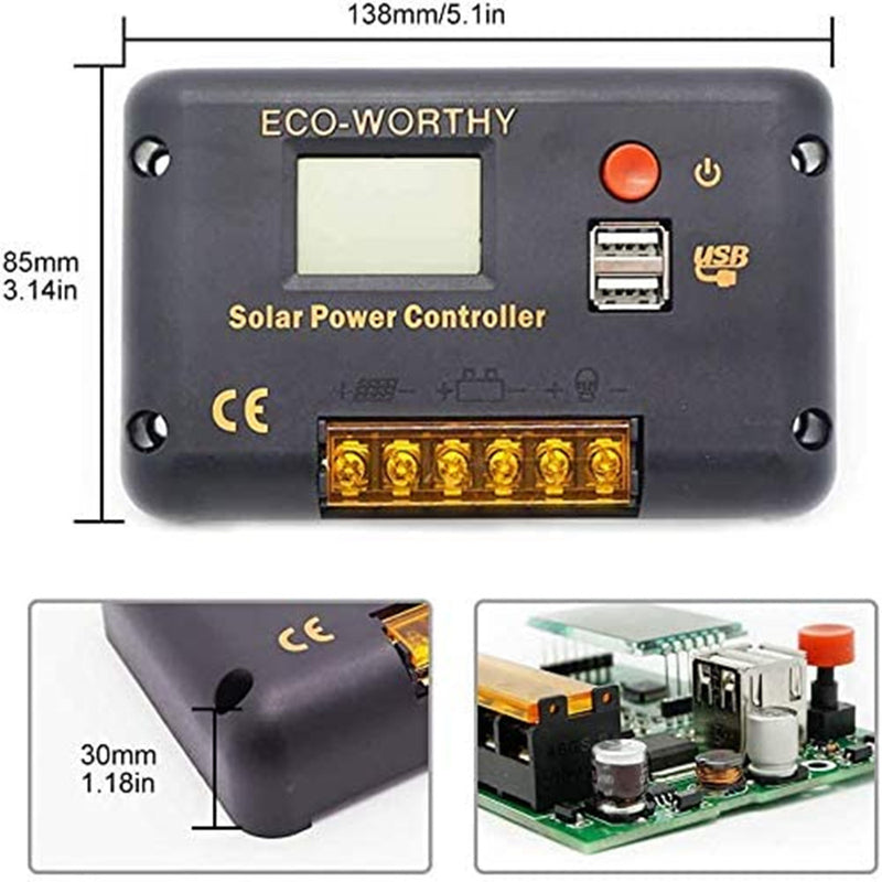 20A PWM LCD Display Solar Charge Controller Regulator with USB Port 12V/24V Autoswitch Paremeter Adjustable  | ECO-WORTHY