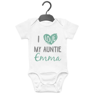 I GET MY GOOD LOOKS FROM MY AUNTIE MUMMY PERSONALISED BABYGROW VEST GIFT BABY