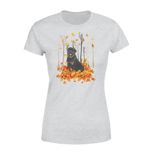 Cute Rottweiler dog puppies under the autumn tree fall leaf - beautiful fall season Woman T-shirt - Halloween, Thanksgiving, birthday gift ideas for dog mom, dog dad, dog lovers - IPH490