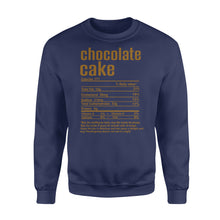 Load image into Gallery viewer, Chocolate cake nutritional facts happy thanksgiving funny shirts - Standard Crew Neck Sweatshirt