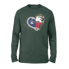 Load image into Gallery viewer, TX Texas Love Hunting Fishing Flag Fish hook Hunting Camo Custom Long sleeve shirt design - personalized gift for hunting, fishing lovers - IPH1560