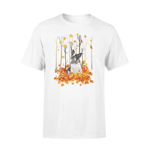 Cute Boston Terrier dog puppies under the autumn tree fall leaf - beautiful fall season T-shirt - Halloween, Thanksgiving, birthday gift ideas for dog mom, dog dad, dog lovers - IPH484