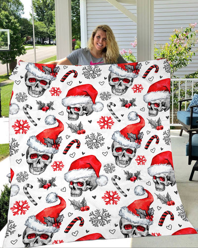 Skull Christmas Fleece Blanket - IPH599