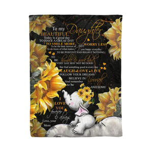 To My Beautiful Daughter Throw Fleece Blanket Birthday, christmas gifts for daughter- NQS59 DRS