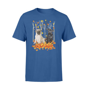 Cute Pugs  dog puppies under the autumn tree fall leaf - beautiful fall season T-shirt - Halloween, Thanksgiving, birthday gift ideas for dog mom, dog dad, dog lovers - IPH427