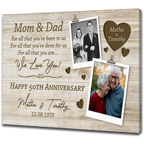 Personalized Gift for Parents| Then and Now Custom Picture Canvas| Golden Anniversary, Wedding Anniversary Chipteeamz T83