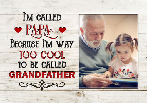 Grandpa Personalized Canvas| Papa Way Too Cool| Father's Day Gift for Grandpa| Grandpa&Grandkids Custom Photo| Papa Gift| N1590 ChipteeAmz