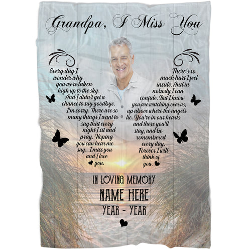 Personalized Memorial Blanket| Grandpa I Miss You| Grandfather Remembrance, Father's Day in Heaven| Loss of Grandpa| N1587 ChipteeAmz
