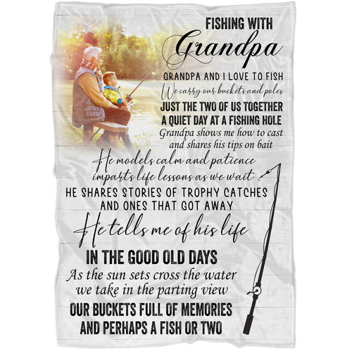 Grandpa Personalized Blanket| Fishing with Grandpa| Father's Day Gift for Grandpa| Grandpa & Grandkids Custom Photo| N1580 ChipteeAmz