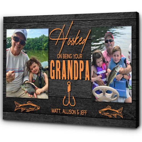 Personalized Canvas| Hooked on Being Grandpa| Custom Photos| Special Fathers Day Gift for Grandpa, Papa Birthday Gift| N1566 ChipteeAmz