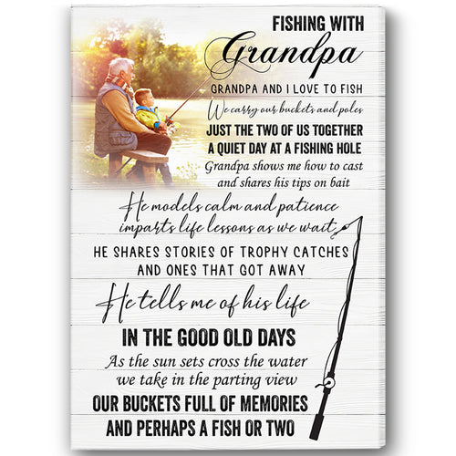 Grandpa Personalized Canvas| Fishing with Grandpa| Father's Day Gift for Grandpa| Grandpa&Grandkids Custom Photo| N1579 ChipteeAmz
