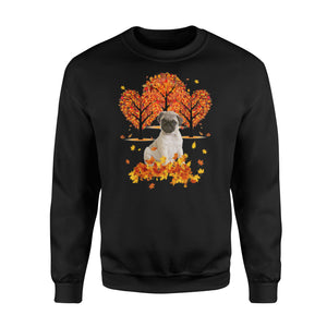 Cute Fawn Pug dog puppies under the autumn tree fall leaf - beautiful fall season Sweat shirt - Halloween, Thanksgiving, birthday gift ideas for dog mom, dog dad, dog lovers - IPH476