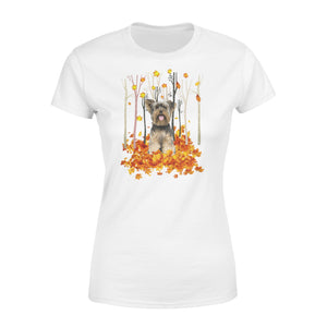 Cute White Yorkshire Terrier dog puppies under the autumn tree fall leaf - beautiful fall season Woman T-shirt - Halloween, Thanksgiving, birthday gift ideas for dog mom, dog dad, dog lovers - IPH491