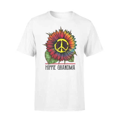 Hippie grandma colorful tie dye sunflower peace sign T-shirt - best gift ideas for hippie grandma - IPH377