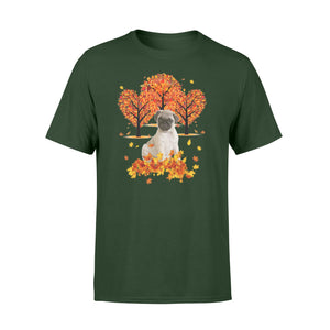 Cute Fawn Pug dog puppies under the autumn tree fall leaf - beautiful fall season T-shirt - Halloween, Thanksgiving, birthday gift ideas for dog mom, dog dad, dog lovers - IPH476