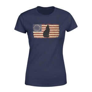 Vintage Betsy Ross Flag howling Wolf women T shirt design - IPH272