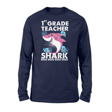 Load image into Gallery viewer, Funny Shirts Teacher shark,Gift for Teacher Plus Size Long Sleeve Shirt -QTS68 Color Black, Blue