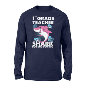 Funny Shirts Teacher shark,Gift for Teacher Plus Size Long Sleeve Shirt -QTS68 Color Black, Blue