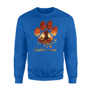 Custom dog's name dog paws mom autumn halloween personalized gift - Standard Crew Neck Sweatshirt