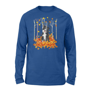 Cute Border Collie dog puppies under the autumn tree fall leaf - beautiful fall season Long sleeve shirt - Halloween, Thanksgiving, birthday gift ideas for dog mom, dog dad, dog lovers - IPH483