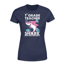 Load image into Gallery viewer, Funny Shirts Teacher shark,Gift for Teacher Plus Size Women T Shirt -QTS68 Color Black, Blue