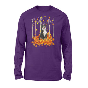 Cute Bernese Mountain dog puppies under the autumn tree fall leaf - beautiful fall season Long sleeve shirt - Halloween, Thanksgiving, birthday gift ideas for dog mom, dog dad, dog lovers - IPH444
