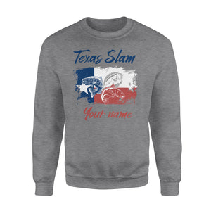 Texas slam fishing personalized gift custom name - Standard Crew Neck Sweatshirt