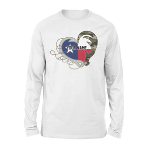 TX Texas Love Hunting Fishing Flag Fish hook Hunting Camo Custom Long sleeve shirt design - personalized gift for hunting, fishing lovers - IPH1560