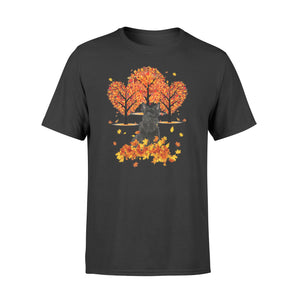 Cute Black Scottish Terrier dog puppies under the autumn tree fall leaf - beautiful fall season T-shirt - Halloween, Thanksgiving, birthday gift ideas for dog mom, dog dad, dog lovers - IPH478