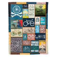 Load image into Gallery viewer, Bicycling art fleece blanket