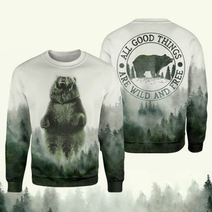 Graphic tees 3D Shirt Plus Size Camping bear quotes All good things are wild and free - NQS13