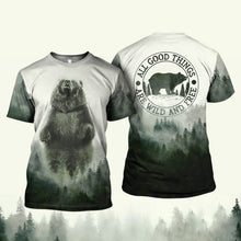 Load image into Gallery viewer, Graphic tees 3D Shirt Plus Size Camping bear quotes All good things are wild and free - NQS13