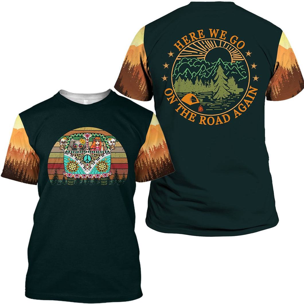 Black orange camp shirt funny saying Here we go on the road again, camfire shirt - NQS14