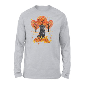 Cute Black Pug dog puppies under the autumn tree fall leaf - beautiful fall season Long sleeve shirt - Halloween, Thanksgiving, birthday gift ideas for dog mom, dog dad, dog lovers - IPH474