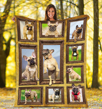 Load image into Gallery viewer, 3D French Bulldog dog Throw Fleece Blanket - 3DTH162