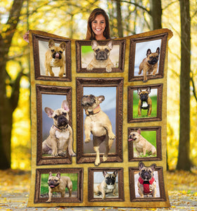 3D French Bulldog dog Throw Fleece Blanket - 3DTH162