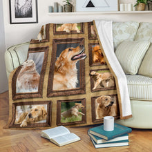 Load image into Gallery viewer, 3D Golden Retriever dog Throw Fleece Blanket - 3DTH163