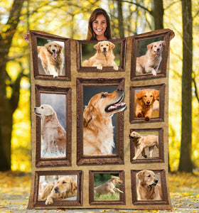 3D Golden Retriever dog Throw Fleece Blanket - 3DTH163