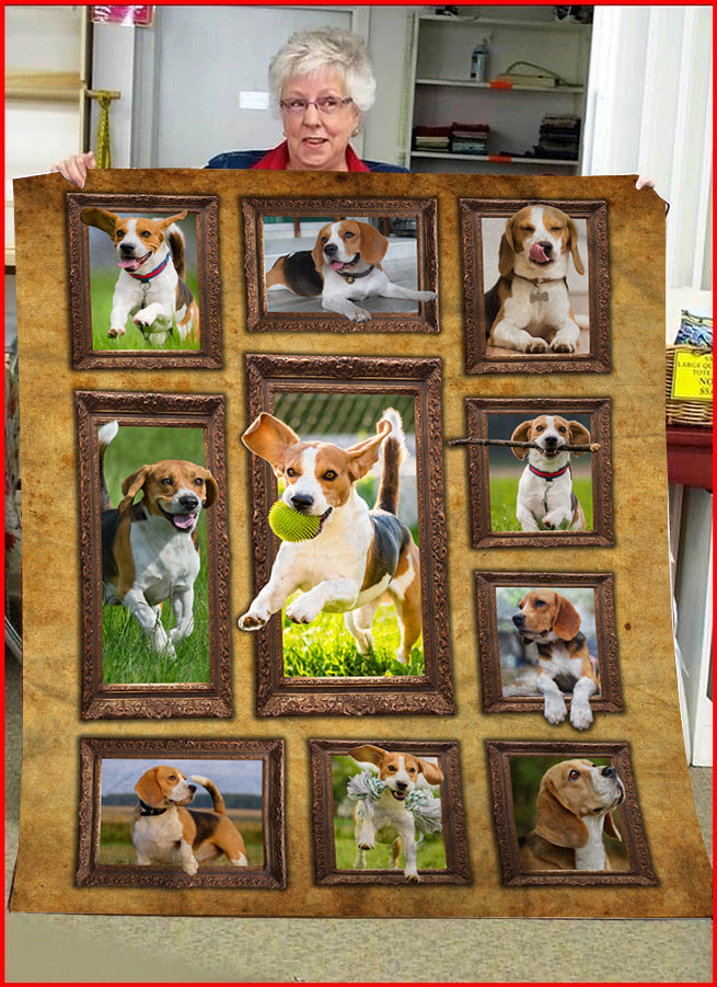 3D Beagle Throw Fleece Blanket - 3DTH168