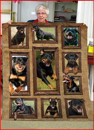 3D Rottweiler dog Throw Fleece Blanket - 3DTH169