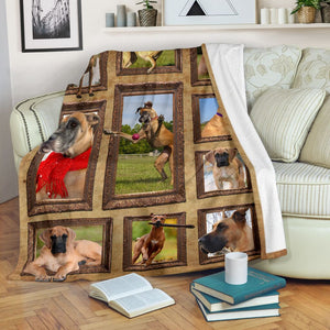 3D Great Dane dog Throw Fleece Blanket - 3DTH171