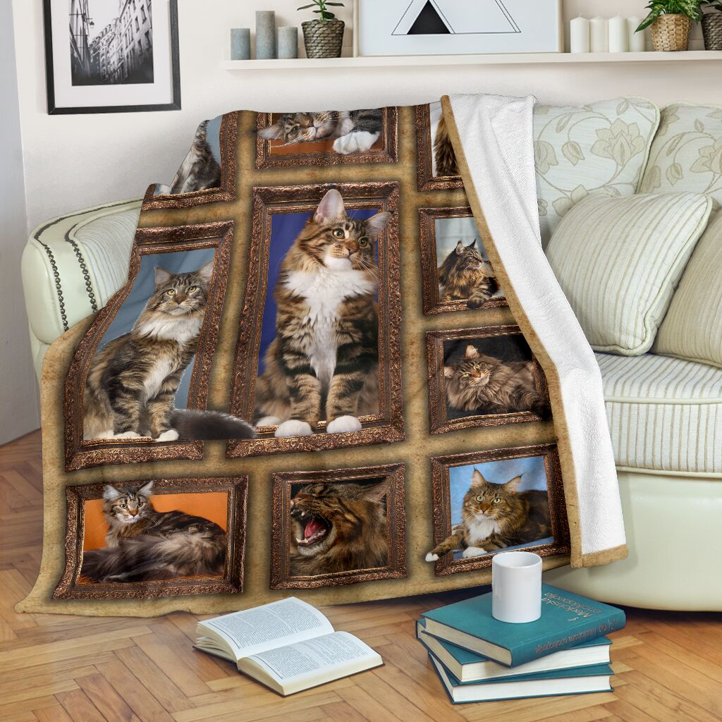 3D Maine Coon Cat Throw Fleece Blanket - 3DTH176