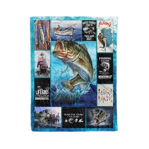 Bass fishing time fleece blanket