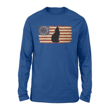 Load image into Gallery viewer, Vintage Betsy Ross Flag howling Wolf long sleeve shirt design - IPH272