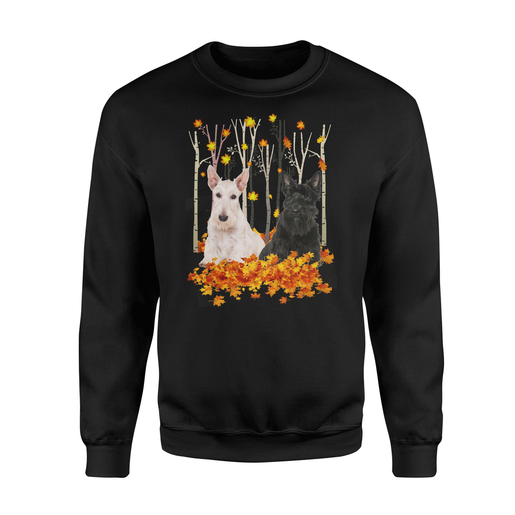 Cute Scotties dog puppies under the autumn tree fall leaf - beautiful fall season Sweat shirt - Halloween, Thanksgiving, birthday gift ideas for dog mom, dog dad, dog lovers - IPH428