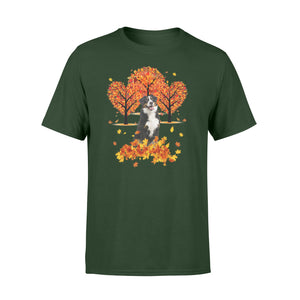 Cute Bernese Mountain dog puppies under the autumn tree fall leaf - beautiful fall season T-shirt - Halloween, Thanksgiving, birthday gift ideas for dog mom, dog dad, dog lovers - IPH473