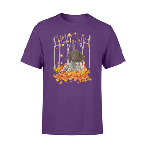 Cute German Shorthaired Pointer dog puppies under the autumn tree fall leaf - beautiful fall season T-shirt - Halloween, Thanksgiving, birthday gift ideas for dog mom, dog dad, dog lovers - IPH446
